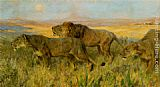 Arthur Wardle Lions sunset painting