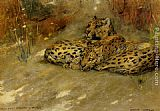 Arthur Wardle Study Of East African Leopards painting
