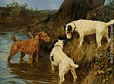 Arthur Wardle Three Terriers on the Scent painting