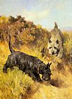Arthur Wardle Two Scotties in a Landscape painting