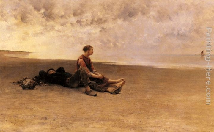 August Wilhelm Nikolaus Hagborg Daydreaming On The Beach