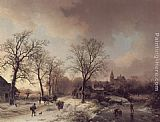 Barend Cornelis Koekkoek Figures in a Winter Landscape painting