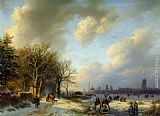 Barend Cornelis Koekkoek Skaters On A Waterway painting