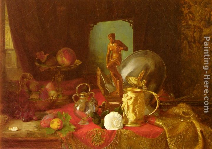 Blaise Alexandre Desgoffe A Still Life with Fruit, Objets d'Art and a White Rose on a Table