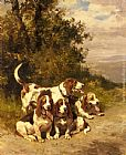 Charles Olivier De Penne Hunting Dogs on a Forest Path painting