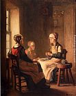 Claude Joseph Bail A Interior With Marken Girls Knitting painting
