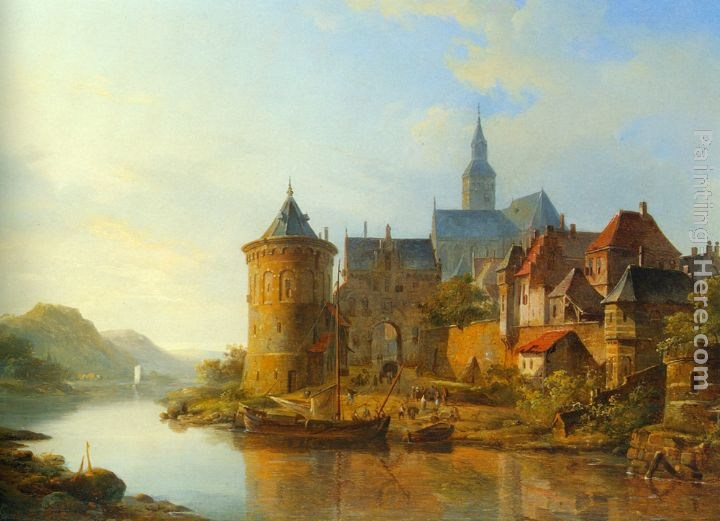 Cornelis Springer A View of a Town along the Rhine