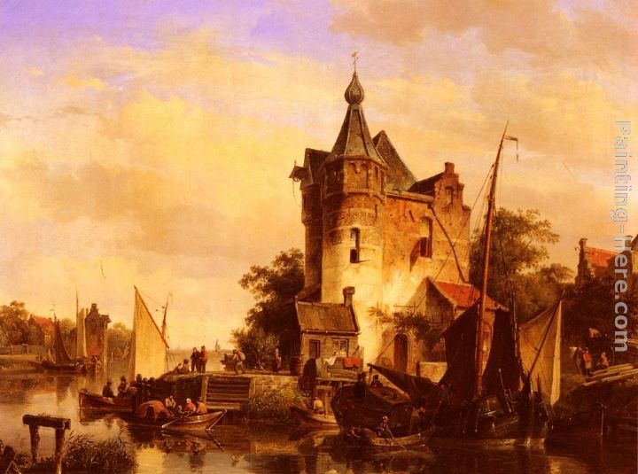 Cornelis Springer Along the Canal