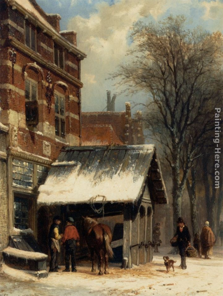 Cornelis Springer The Smithy of Culemborg in the Winter