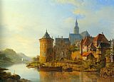 Cornelis Springer A View of a Town along the Rhine painting