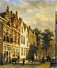 Cornelis Springer Figures in the Sunlit Streets of a Dutch Town painting