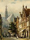 Cornelis Springer Manu figures in the streets of Haarlem painting