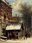 Cornelis Springer The Smithy of Culemborg in the Winter painting