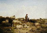 Cornelis van Leemputten Shepherd Boys With Their Flock painting