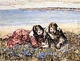 Edward Atkinson Hornel Gathering Flowers by the Seashore painting