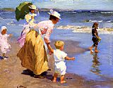 Edward Potthast At the Beach painting