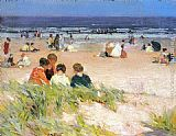 Edward Potthast By the Shore painting