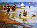 Edward Potthast Children at Play on the Beach painting