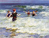 Edward Potthast In the Surf painting