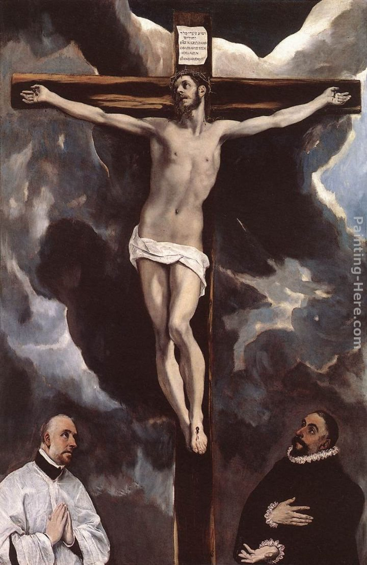 El Greco Christ on the Cross Adored by Donors