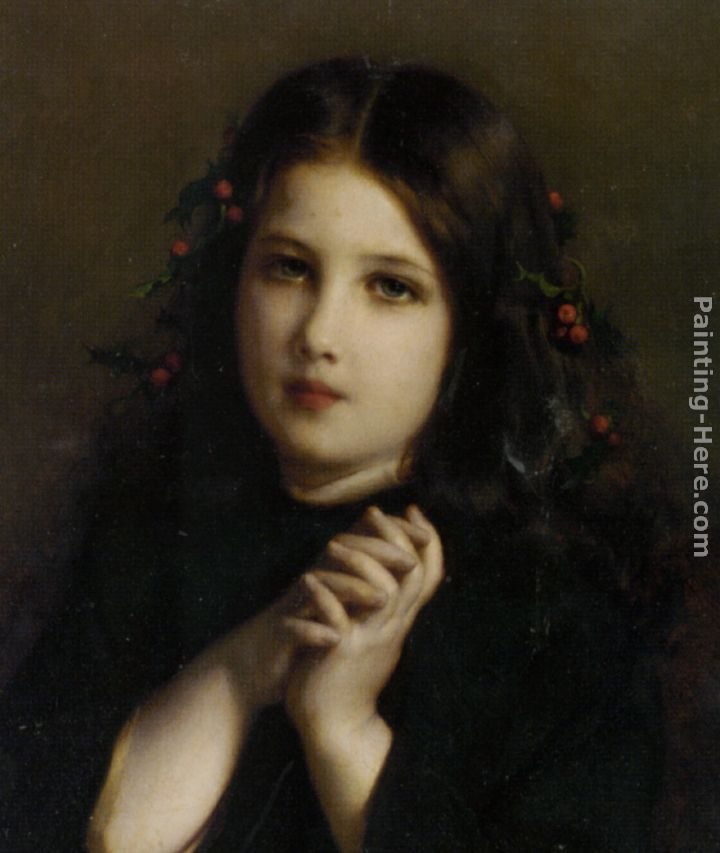 Etienne Adolphe Piot A Young Girl with Holly Berries