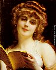 Etienne Adolphe Piot A Blonde Beauty Holding a Book painting