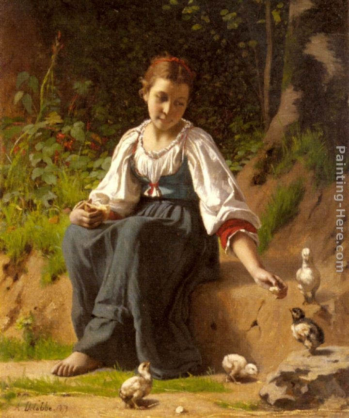 Francois Alfred Delobbe A Young Girl feeding Baby Chicks