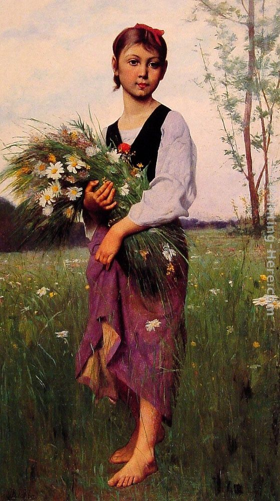 Francois Alfred Delobbe The Flower Picker