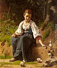 Francois Alfred Delobbe A Young Girl feeding Baby Chicks painting