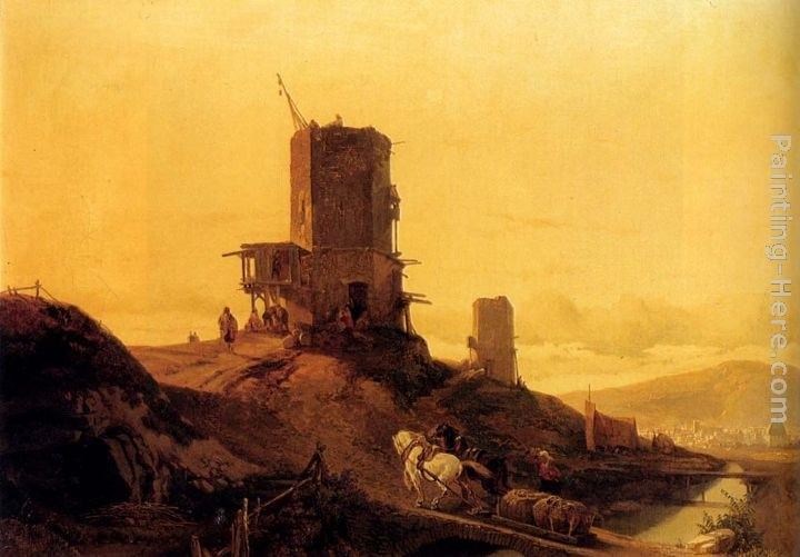 Francois Antoine Bossuet A Hill With An Arab Windmill Under Construction, A Town In The Distance