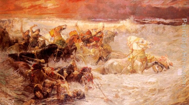 Frederick Arthur Bridgman Pharaoh's Army Engulfed By The Red Sea