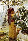 Frederick Arthur Bridgman In the Courtyard painting