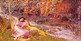 Frederick Arthur Bridgman Reclining By A Stream painting