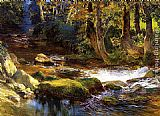 Frederick Arthur Bridgman River Landscape with Deer painting
