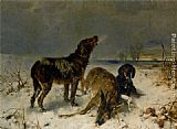 Friedrich Otto Gebler Two Hunting Dogs with Their Catch painting