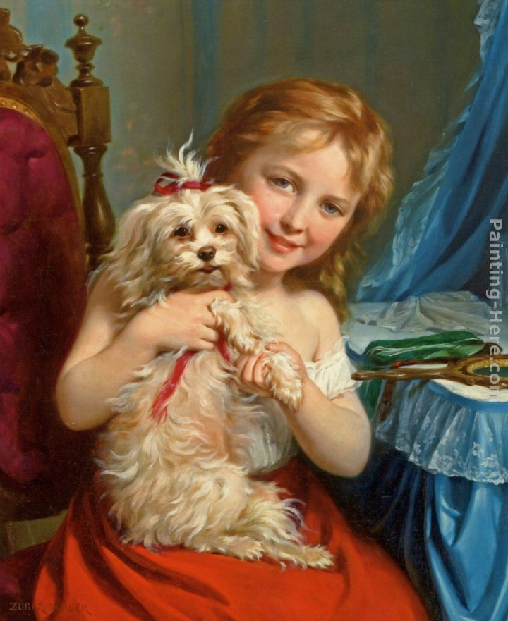 Fritz Zuber-Buhler Young Girl with Bichon Frise
