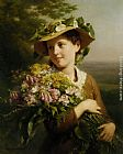 Fritz Zuber-Buhler Young Beauty with Bouquet painting