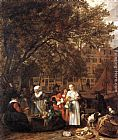 Gabriel Metsu Vegetable Market in Amsterdam painting