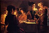 Gerrit van Honthorst Supper With The Minstrel And His Lute painting