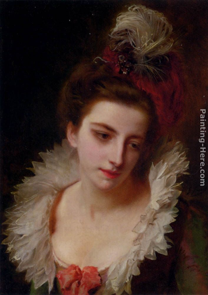 Gustave Jean Jacquet Portrait Of A Lady With A Feathered Hat ...