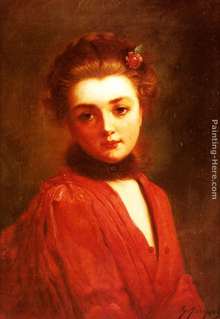 Gustave Jean Jacquet Portrait of a Girl in a Red Dress Painting ...