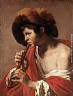 Hendrick Terbrugghen Boy Playing Flute painting