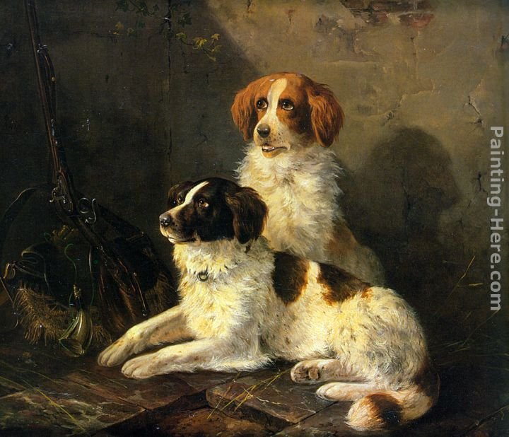 Henriette Ronner-Knip Two Spaniels Waiting for the Hunt