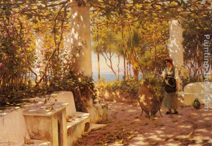 Horace Fisher A Peasant Girl on a Sunlit Veranda