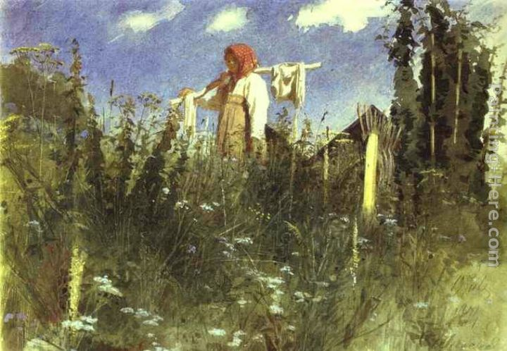 Ivan Nikolaevich Kramskoy Girl with Washed Linen on the Yoke