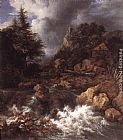 Jacob van Ruisdael Waterfall in a Mountainous Northern Landscape painting