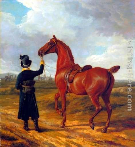 Jacques-Laurent Agasse Lord Rivers' Groom Leading a Chestnut Hunter towards a Coursing Party in Hampshire