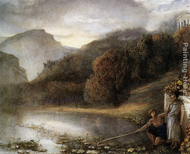 James Smetham Classical figures by a river with a Temple Beyond