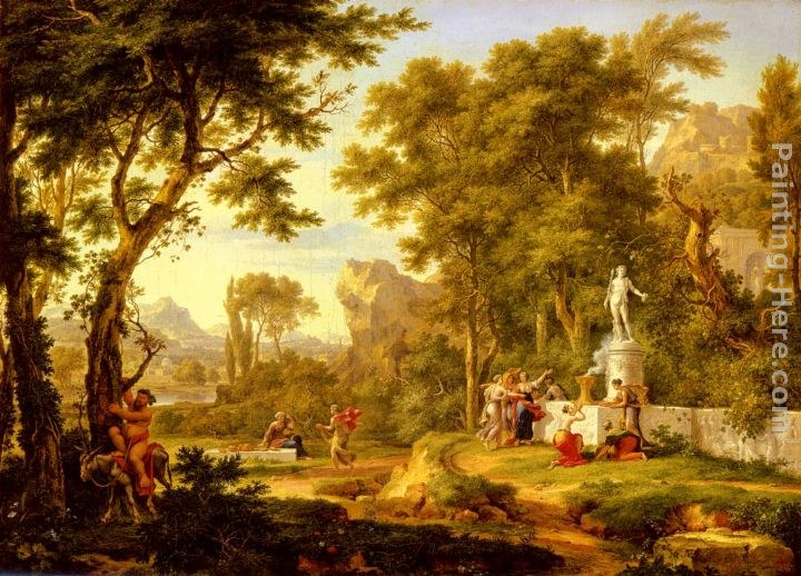 Jan Van Huysum A classical landscape with the Worship of Bacchus