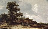 Jan van Goyen Farmyard with Haystack painting